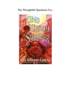 """One Crazy Summer Common Core Aligned """"Thoughtful Questions"""""""