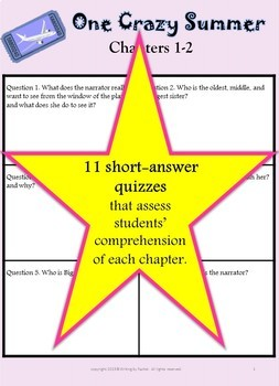 One Crazy Summer--Quizzes and Answer Keys