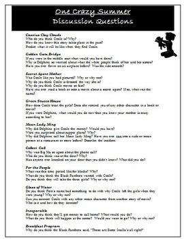 One Crazy Summer Discussion Questions for Novel Study