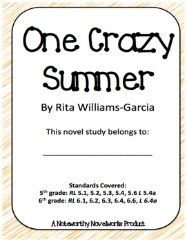 One Crazy Summer by Rita Williams-Garcia Novel Study / Key