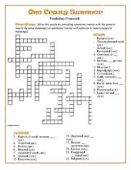 One Crazy Summer: Syn./Ant. Crossword—Pair w/Bookmarks ...