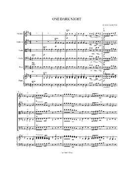 One Dark Night for String Orchestra, Sheet Music
