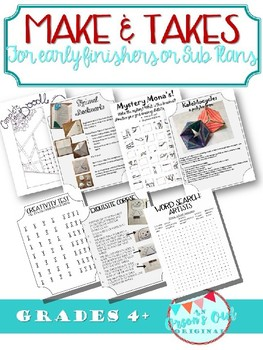 One Day Projects/Make & Take/Early Finishers/End of the Year