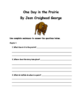 One Day in the Prairie Jean Craighead George Comprehension Packet