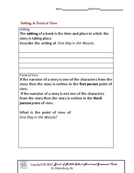 One Day in the Woods Literature and Grammar Unit
