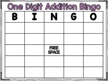 One Digit Addition Bingo