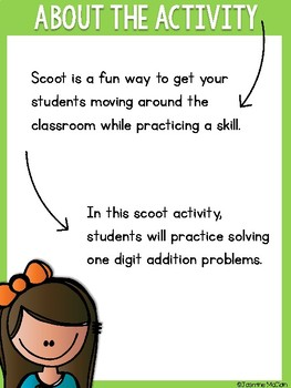 One Digit Addition Scoot Activity (FREEBIE)