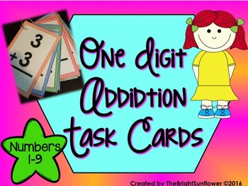 One Digit Addition Task Cards
