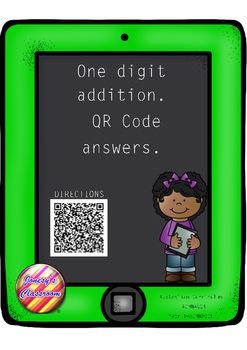 One Digit Addition Task Cards with QR Code answers
