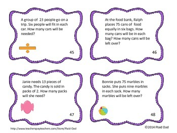 One-Digit Division Task Cards