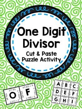 One Digit Divisor Cut & Paste Puzzle