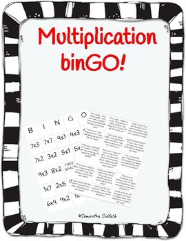 One Digit Multiplication Bingo