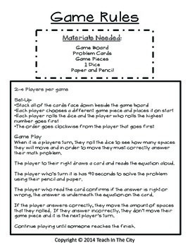 One Digit Multiplication Board Game Center Activity