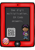 One Digit Multiplication Task Cards with QR Code answers