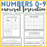 One-Digit Number Formation Practice 0-9   Worksheets + Math Centers + Assessment