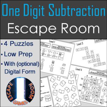 One Digit Subtraction Activity: Escape Room Math