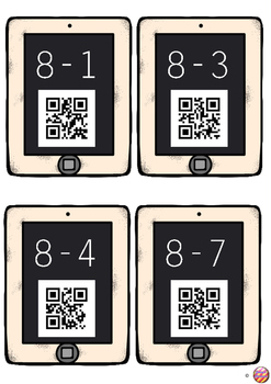 One Digit Subtraction Task Cards with QR Code answers