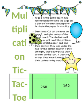 One Digit Times Two Digit Multiplication Tic-Tac-Toe Game