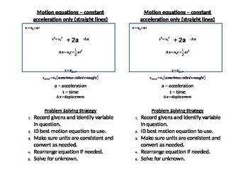 One-Dimension Motion Equations - Interactive Notes