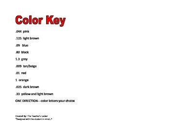 One Direction Color by Numbers Decimals and Percents