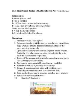 One Dish Dinner (Shepherd's Pie) Recipe