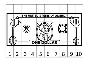 One Dollar Bill 1-10 Number Sequence Puzzle. Financial education for preschool
