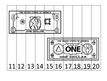 One Dollar Bill 11-20 Number Sequence Puzzle. Financial education for preschool