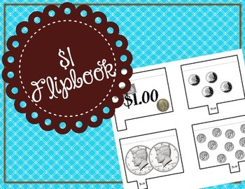 One Dollar Flipbook / Money Foldable / Center / Lapbook