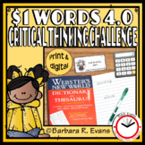 ONE DOLLAR WORDS 4.0 Critical Thinking Challenge Math ELA Research GATE
