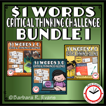 ONE DOLLAR WORDS BUNDLE I Critical Thinking Challenge Math ELA Research GATE
