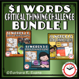 ONE DOLLAR WORDS BUNDLE I Critical Thinking Challenge Math
