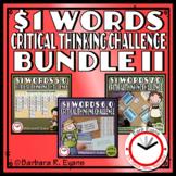 ONE DOLLAR WORDS BUNDLE II Critical Thinking Challenge Math ELA Research GATE