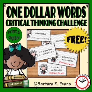 CRITICAL THINKING: One Dollar Words Freebie