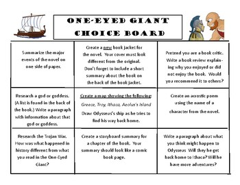One-Eyed Giant Novel Tales from the Odyssey CHOICE BOARD Menu Project