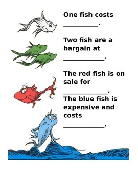 One Fish Two Fish Money Worksheet