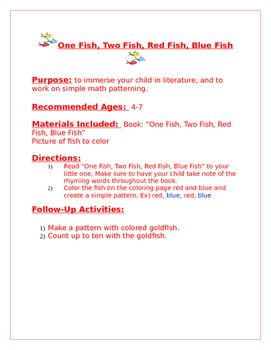 One Fish, Two Fish, Red Fish, Blue Fish Family Packet