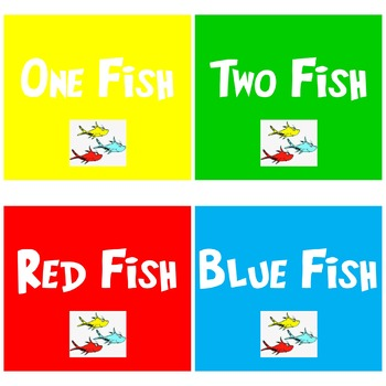One Fish Two Fish Red Fish Blue Fish Printable Signs for Iron On T-shirts or BB