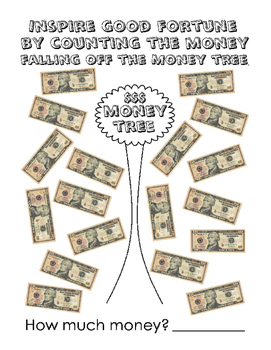 One Five Ten Dollars Math Money Numbers up to 20 90 180 137 Good Fortune Tree 4p