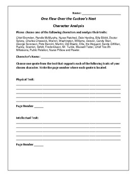One Flew Over the Cuckoo's Nest - Character Analysis Activ