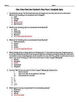 One Flew Over the Cuckoo's Nest Analysis Quiz Part 1