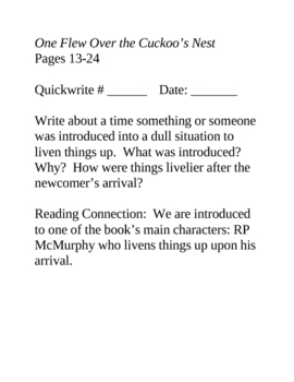 One Flew Over the Cuckoo's Nest Daily Journals