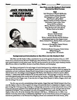 One Flew over the Cuckoo's Nest Film (1975) Study Guide Mo