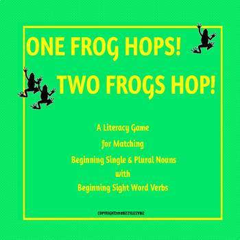 One Frog Hops Two Frogs Hop A Noun Verb Agreement Game Tpt