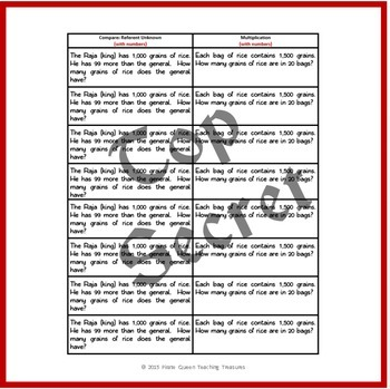 One Grain of Rice Mathematical Word Problems/CGI Designed