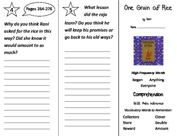 One Grain of Rice Trifold - Treasures 2nd Grade Unit 2 Week 4
