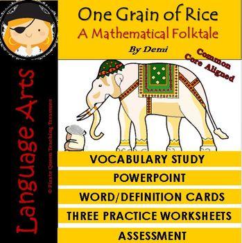 One Grain of Rice/ Vocabulary Study/Common Core Aligned