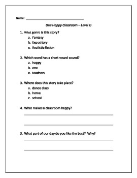 """""""One Happy Classroom"""" Guided Reading Quiz"""