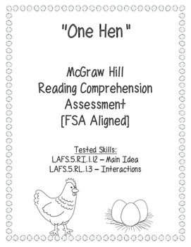 One Hen Assessment McGraw Hill (FSA Aligned) Main Idea and Interactions