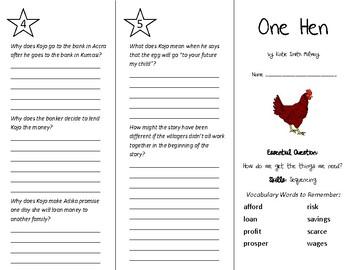 One Hen Trifold - Wonders 5th Grade Unit 1 Week 1