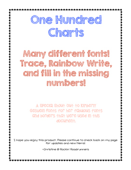 One Hundred Charts!! Trace, Rainbow Write, Missing Numbers